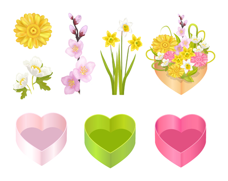 Flowers Set and Boxes Poster Vector Illustration