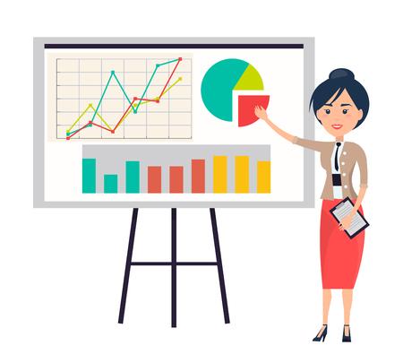 Business Woman Making Presentation near Flipchart