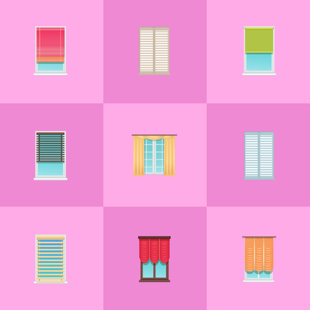 Curtains and Jalousies on Plastic Windows Set Ilustração
