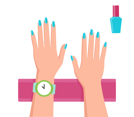 Pretty Blue Manicure Banner Vector Illustration