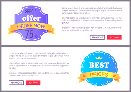 Set Sale Special Offer Order Now Web Poster Vector Illustration