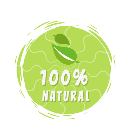 100 Natural Green Eco Label Design, Round Sticker