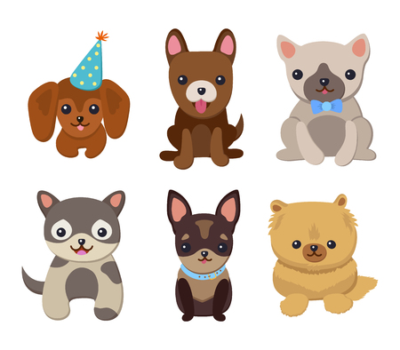 Dogs and Puppies Set Poster Vector Illustration Illustration