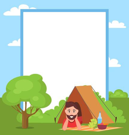 Man in Tent and Filling Form Vector Illustration Иллюстрация