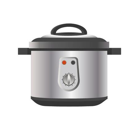 Modern Multicooker for Kitchen in Metallic Corpus Illustration