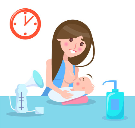 Breastfeeding Mother and Child Vector Illustration Çizim