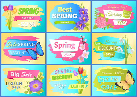 Set Labels Spring Discounts Advertisement Stickers