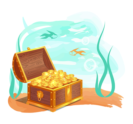 Gold Treasures in Wooden Chest at Ocean Bottom