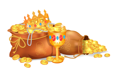 Old Sacks Stuffed with Gold Coins and Jewelry
