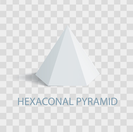 Hexaconal Pyramid Geometric Shape in White Color Illustration