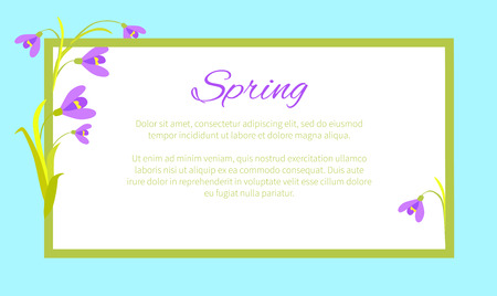 Violet Flowers in Corners of Frame Vector Text