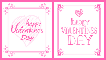 Happy Valentines Day Pink Post-Card with Greetings 일러스트