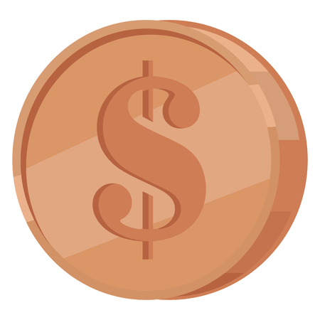 Copper Coin with Dollar Sign Flat Vector Icon