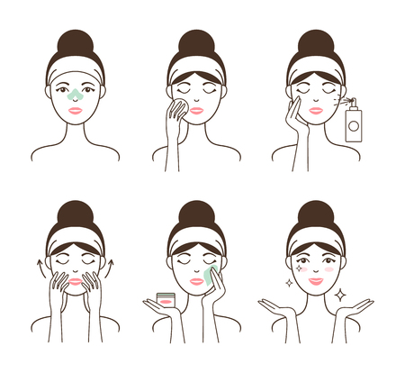 Young Woman Takes Care of Her Skin with Cosmetics Illustration