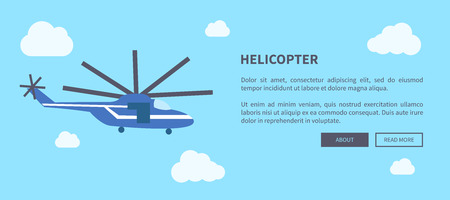 Closeup Blue Helicopter Banner with Place for Text