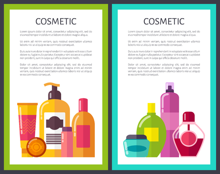 Two Cosmetic Banners Colorful Vector Illustration Çizim