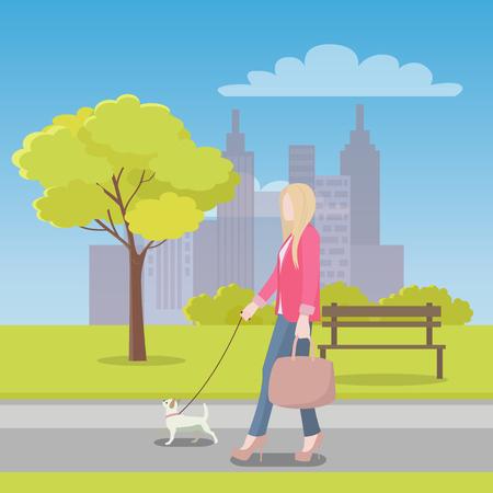 Woman Walks with Little Dog in Park near City Иллюстрация