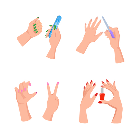 Nail Service Hands and Tools Vector Illustration