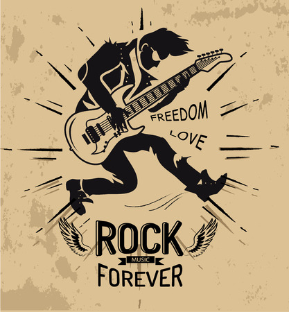 Rock Music Forever Love on Vector Illustration Ilustração