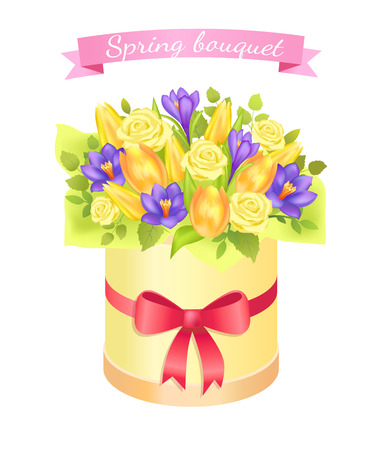 Spring Bouquet with Rose and Peony Flowers Crocus