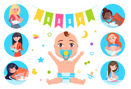 Baby Flags and Breastfeeding Vector Illustration