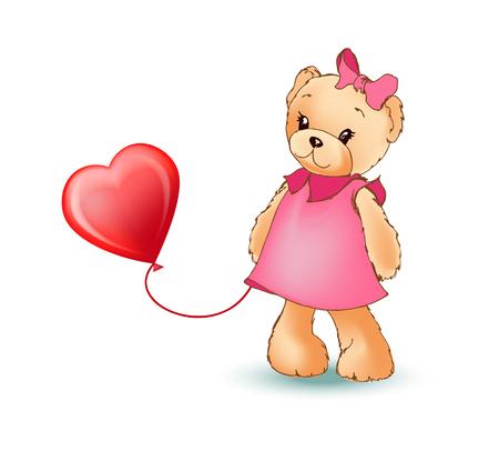 Female Teddy Bear with Balloon Vector Illustration Stock Vector - 101964373