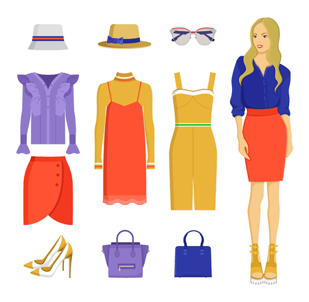 Set of Various Summer Clothes Colorful Banner 일러스트
