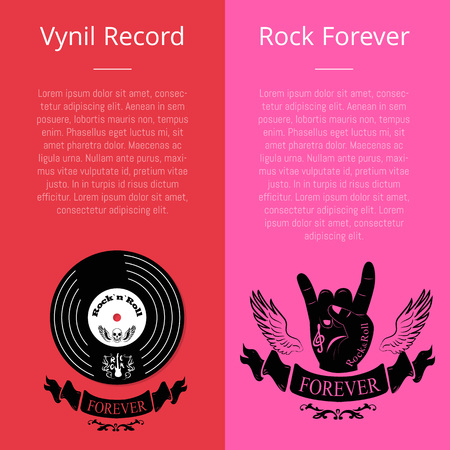 Vinyl Record and Rock Forever Banners with Text