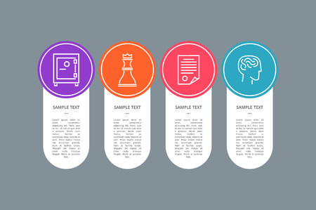 Sample Text Banner, Colorful Circle with Icons
