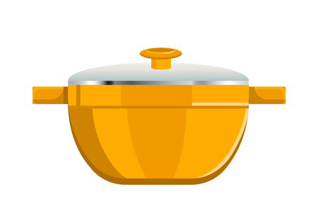 Deep Saucepan with Glass Cover and Yellow Corpus