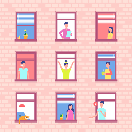 People in Window Frames inside Red Brick Wall Stock Illustratie