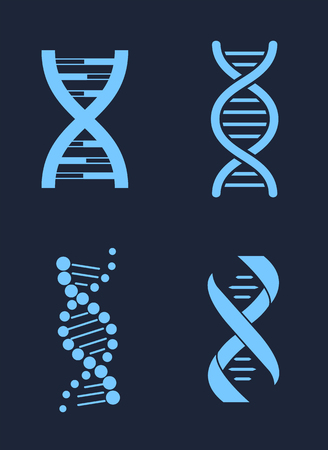 Set of DNA Icon Chains Genetic Personal Codes Illustration