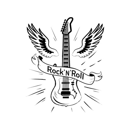 Rock n roll Picture and Guitar Vector Illustration Foto de archivo - 101964388