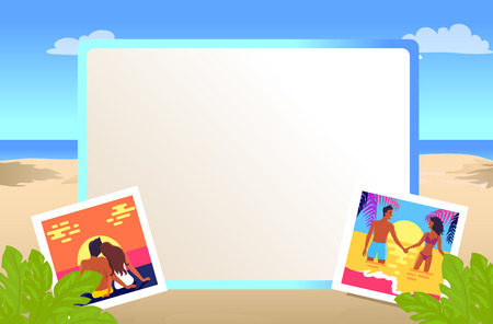 Square Frame with Pictures of Couples on Beach