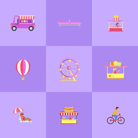 Amusement Park Set of Icons Vector Illustration