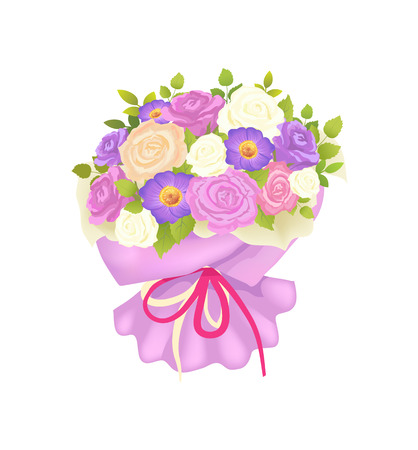 Gentle Bouquet of Rose and Daisy Flowers Wrapping