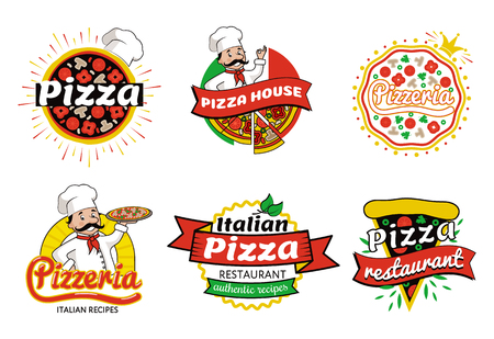 Italian Pizza Restaurant Logos Vector Illustration Иллюстрация