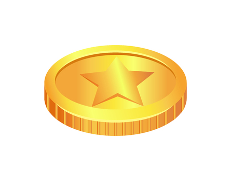 Coin Made of Gold Material Vector Illustration