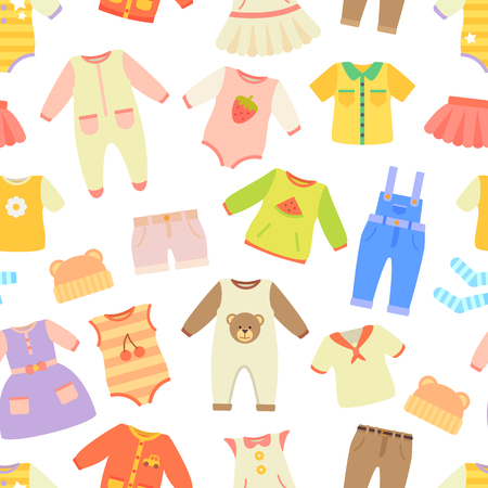 Baby Clothes Seamless Pattern Vector Illustration Standard-Bild - 101964583