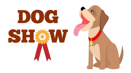 Cartel de la exposición canina, ilustración vectorial colorida