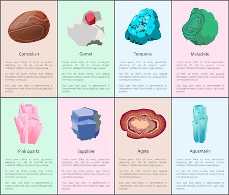 Aquamarine Agate Sapphire Pink Quartz Malachite Stock Illustratie