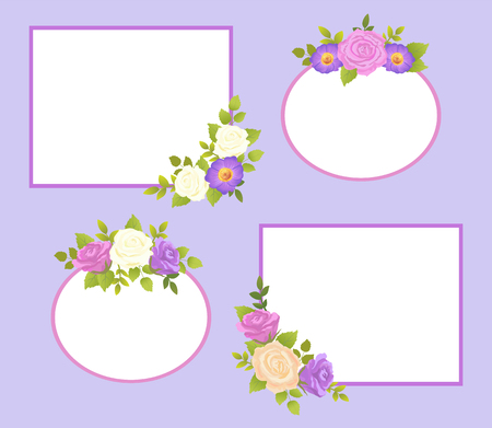 Set of Photo Frames Color Rose and Daisy Flowers