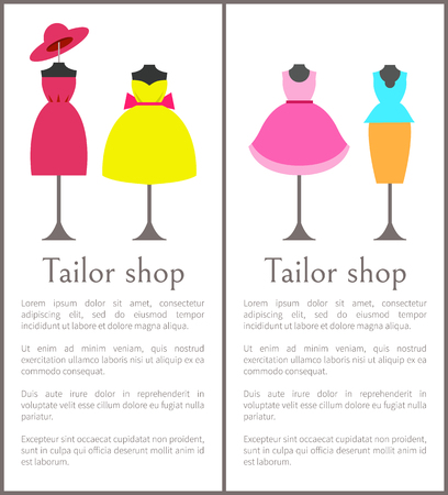 Tailor Shop Pages Collection Vector Illustration
