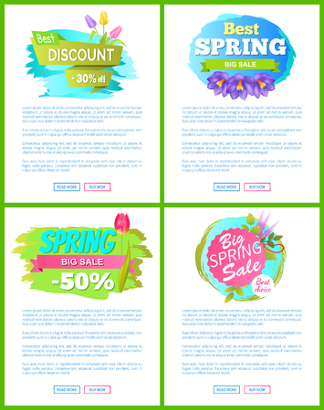 Set of Spring Sale Advert Tags Labels Crocus Flower Ilustrace