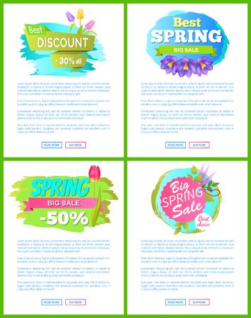 Set of Spring Sale Advert Tags Labels Crocus Flower Illustration