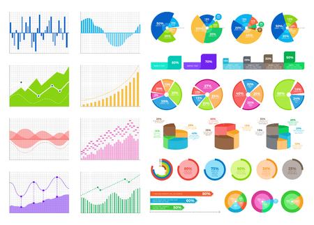 Bright Flat Graphics and Volumetric Diagrams Set Illusztráció