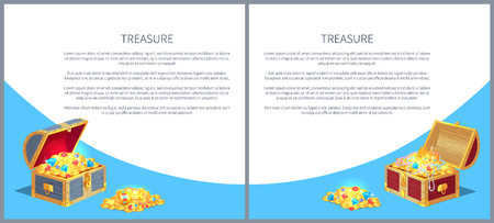 Treasure Posters Set Gold Ancient Coins Chests