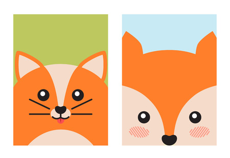 Cat and Fox Animal Covers Vector Illustration