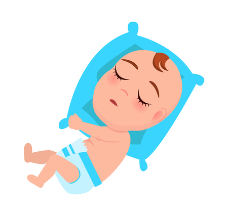 Baby Infant in Diaper Sleeps on Blue Pillow Vector