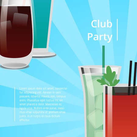 Club Party Poster with Bloody Mary Cocktail Vector